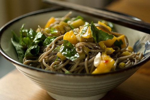 soba with eggplant and mango