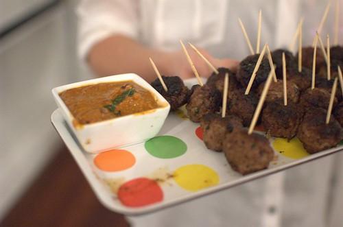 Meatballs and harissa sauce