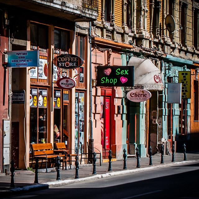 Oradea, Romania.  Shops, Coffee Store, Sex Shop