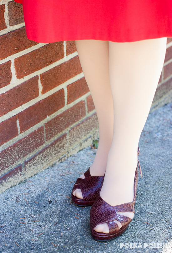 """Royal Vintage """"Dolores"""" pumps in brown faux-reptile are a perfect finishing touch on a vintage outfit"""