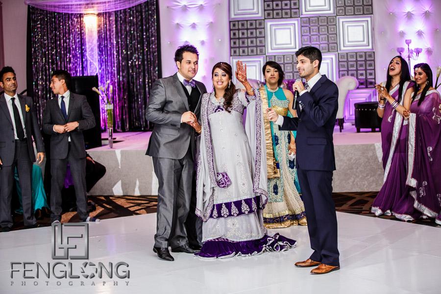 Playing wedding games at an Atlanta Indian wedding reception