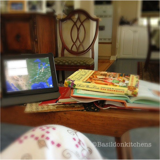 Aug 11 - I love doing this! {planning tonight's dinner and future vacations; in my PJs} #fmsphotoaday