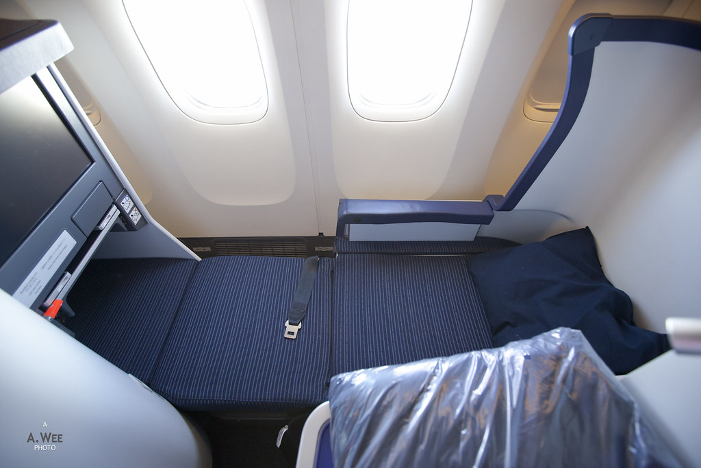 ANA Business Class Seat in Full-flat Mode