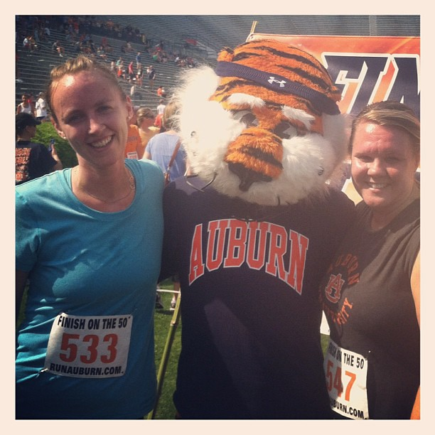 With Aubie on the field