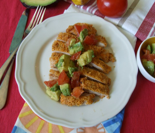 Cornmeal Crusted Chicken Thighs with Avocado Tomato Relish