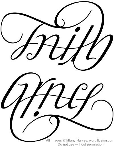 tattoo drawing of the word faith