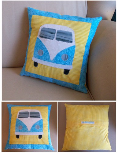 Aqua and Yellow Bus Pillow