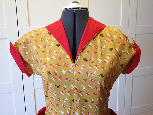 mustard bird dress bodice
