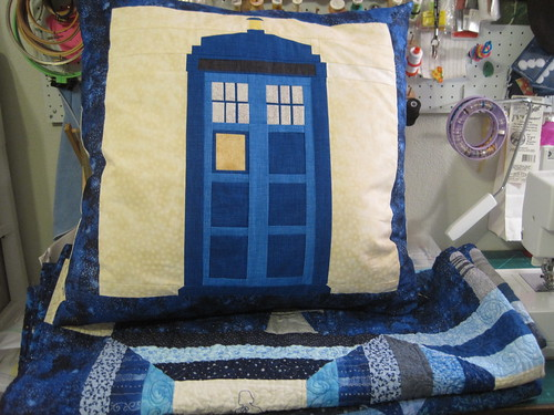Doctor Who TARDIS pillow and Doctor Who Stitch Along Quilt