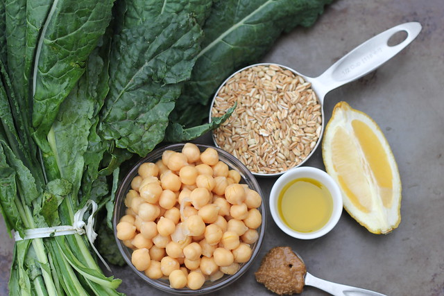 kale salad with farro and chickpeas