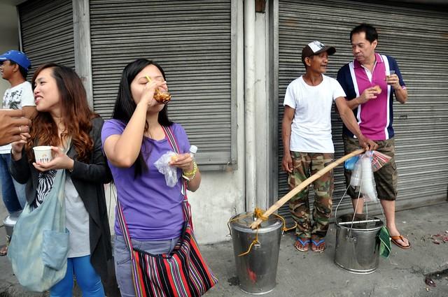 Sandy Daza eats taho