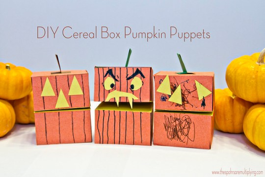 DIY Cereal Box Pumpkin Puppets