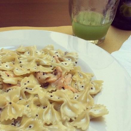 Farfalle, salmon, caviar = last pasta meal lol....