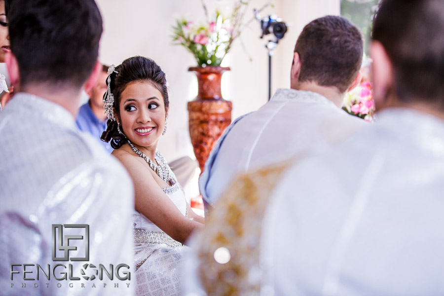 Bride at Cambodian wedding ceremony