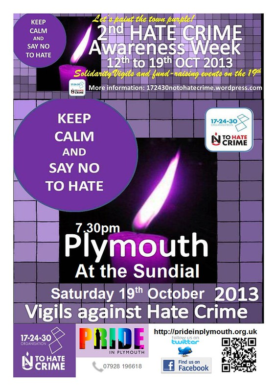 Plymouth Vigil Against Hate Crime Poster