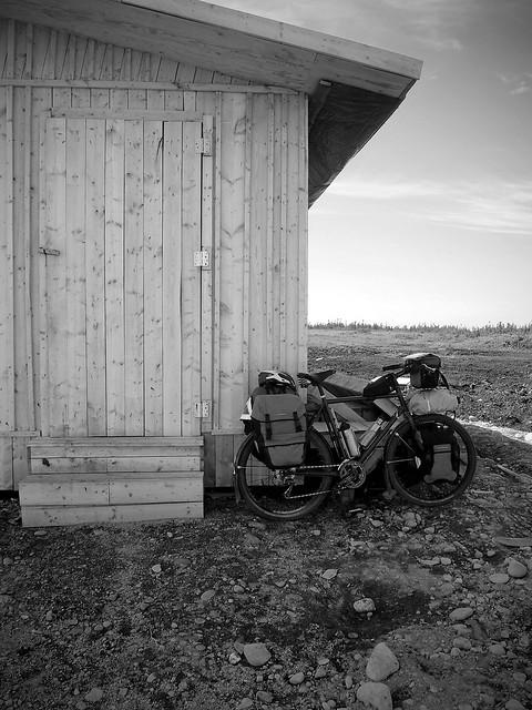 Hut on Trail BW