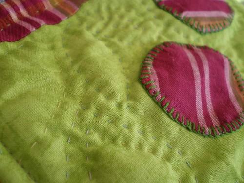 trousse vert rose patchwork