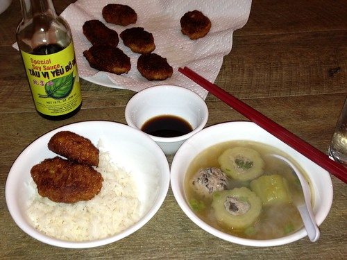 Fried fish cakes with pork stuffed bittermelon soup and rice