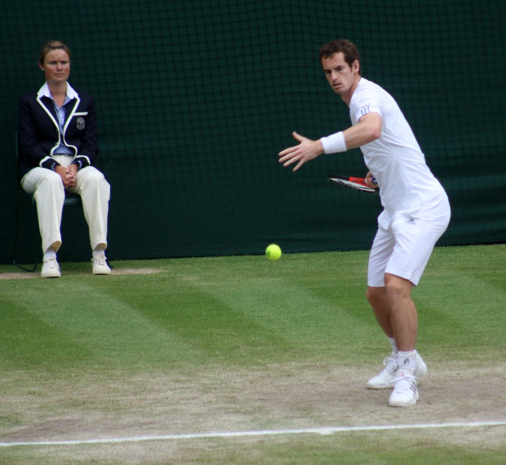 Wimbledon Andy Murray warming up