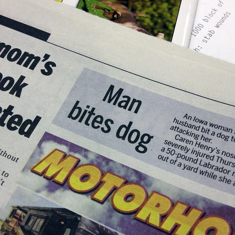 Calgary Sun newspaper headline: Man bites dog