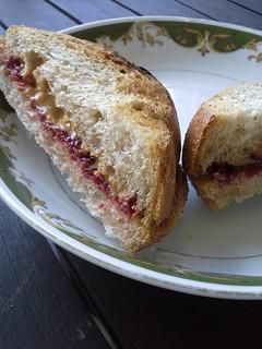 peanut butter and strawberry jam sandwich