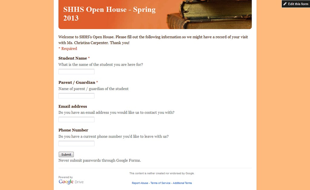 Open House Form