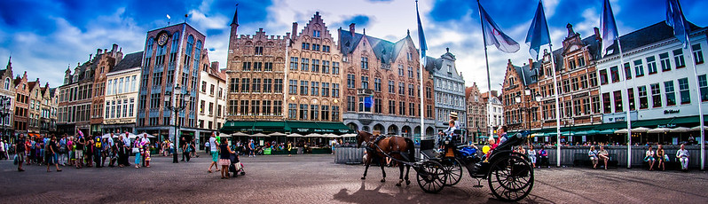 Bruge Markt Square with Horse Drawn Carriage