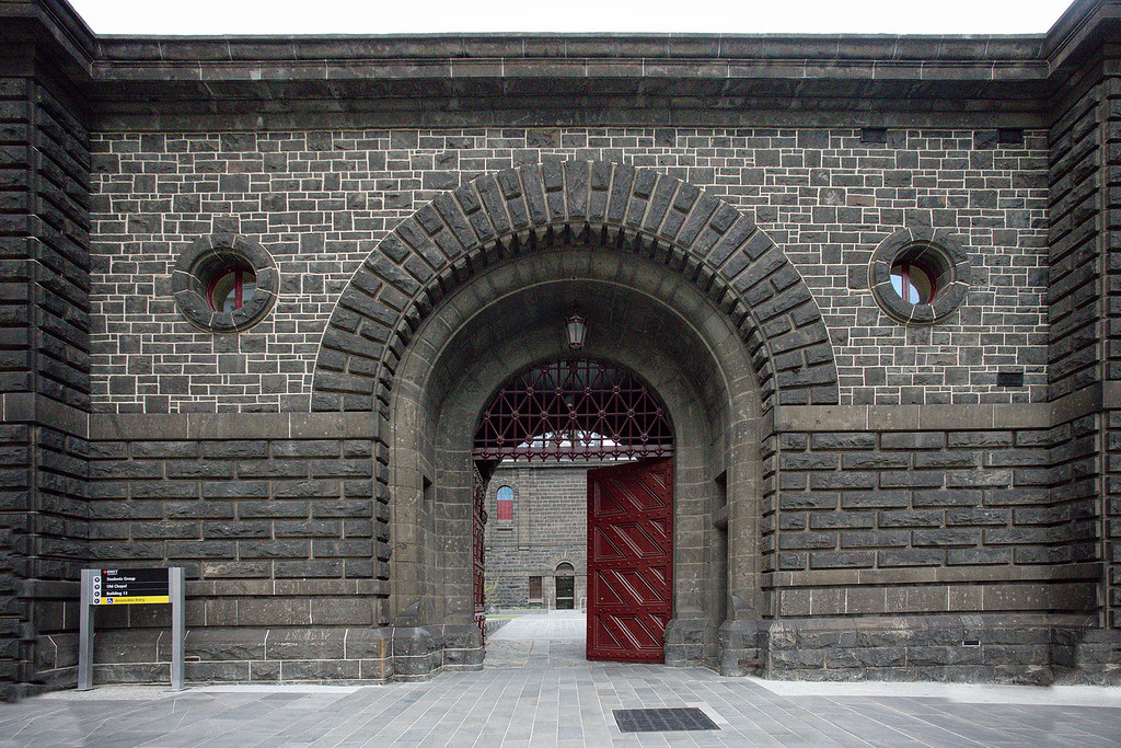 The original entryway for the Melbourne Gaol.