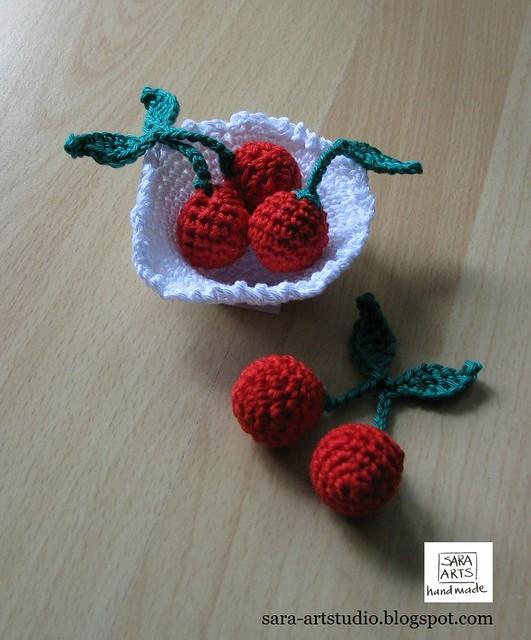 Basket with Sweet Cherries