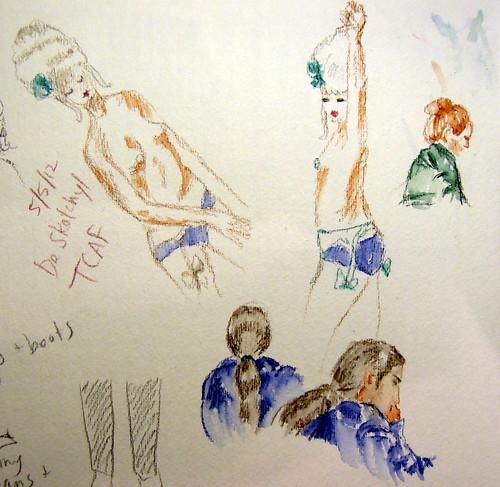 Sketches of topless burlesque performer wearing Marie Antoinette wig