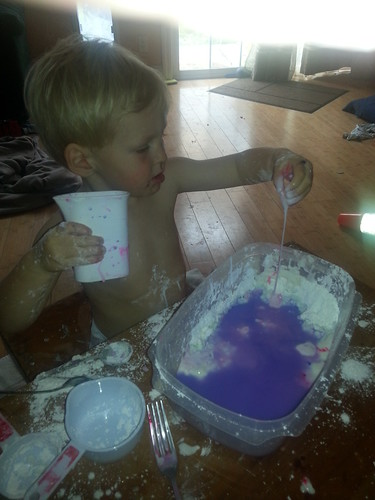 corn starch + water + gel food coloring (pink, blue, purple) + Owen by marymactavish