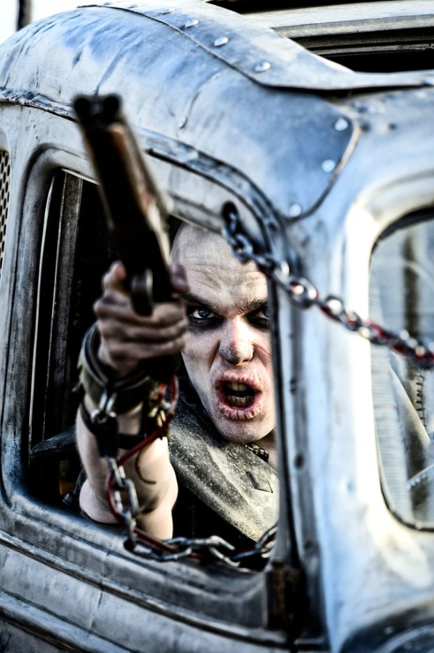 Nicholas Hoult as Nux, a fanatic War Boy who believes that he will enter into afterlife in Valhalla if he proves his devotion to Immortan Joe. (Credit: Warner Bros Pictures)