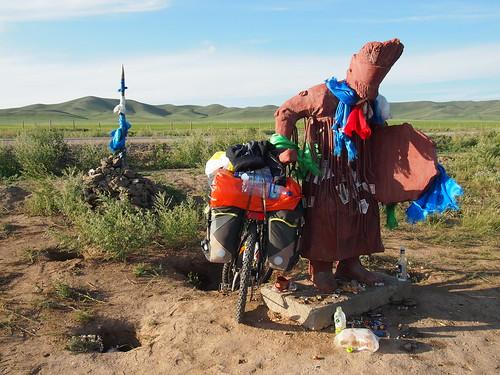 Statue and my bike! - Mongolia