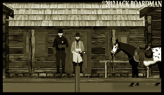 Town Marshal Kidd and McLintock at Triple Bar X Ranch ©2012 Jack Boardman