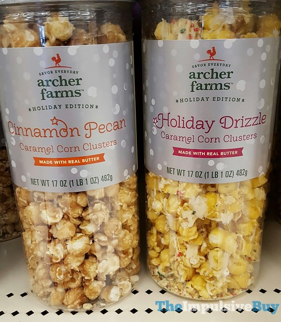 Archer Farm Holiday Edition Cinnamon Pecan and Holiday Drizzle Caramel Corn Clusters