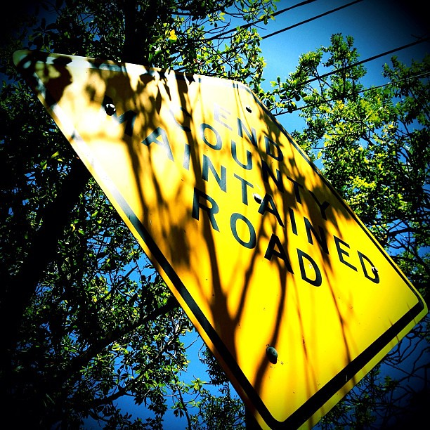 End county maintained road. #photoadayjune #photoadayjune_hashimaree #yellow #sign