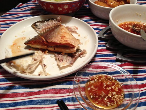 Fried butterfish with nuoc mam dipping sauce