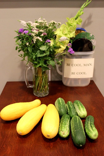 20120624. Squash, pickling cucumbers, bouquet, and fans.