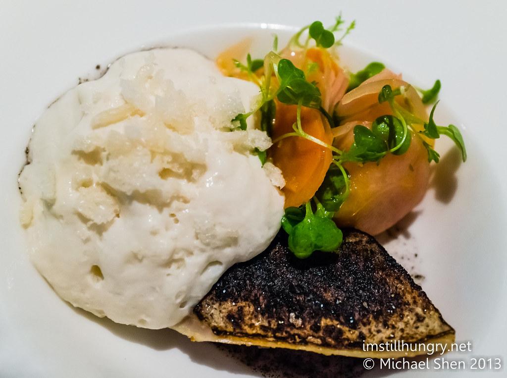 Foveaux Blue mackerel, black sesame, mushroom milk, puffed rice w/pickled veggies & elk