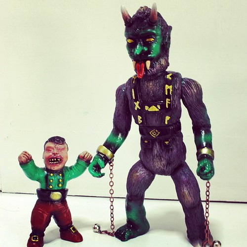 RAMPAGE Killer Krampus and Mischief Maker.  At #rampagestudios tomorrow, online Saturday around 11AM.  Green vinyl - lots and lots of paint, chains and bells :-P  edition of 15 - 3 GID vinyl chase figures mixed in there.  Weapon Omake not shown here - but