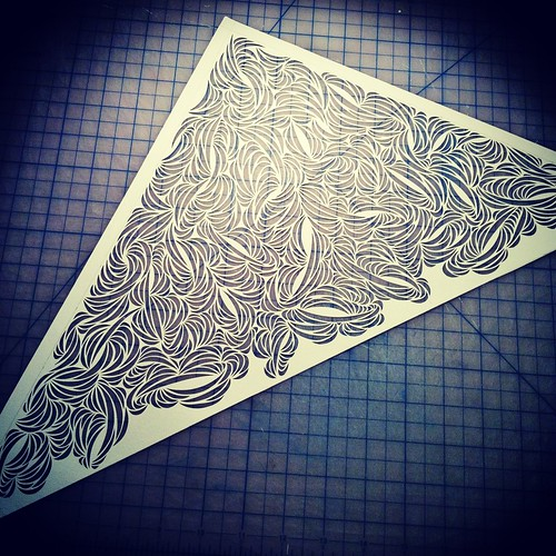 Work in progress paper cut sculpture