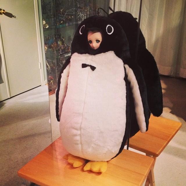 Melisande in the penguin costume