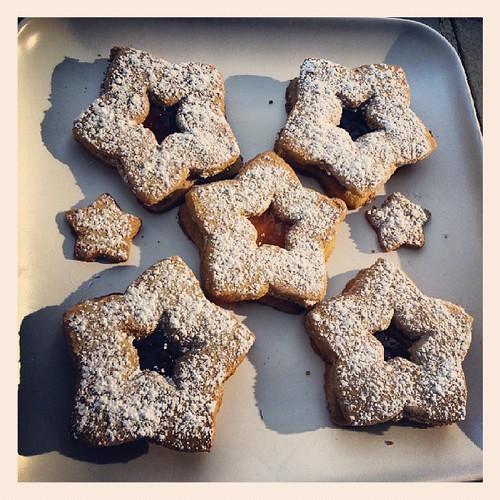 Raspberry, strawberry, apricot & olallieberry sorghum flour linzer tarts! #glutenfreedelicious by The Cookie Man