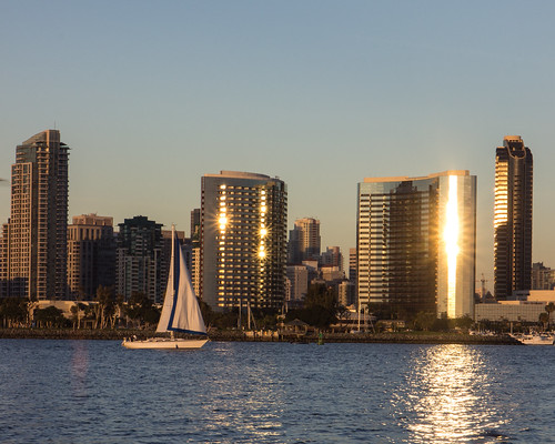 San Diego - Sailboat and Skyline by Christopher OKeefe