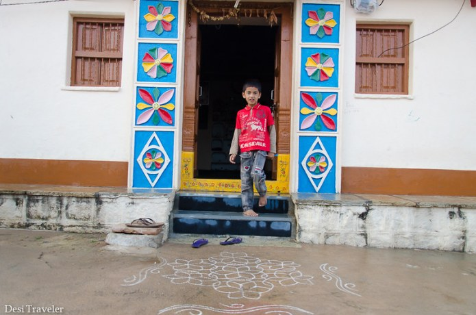 village house with colorful door India Telangana