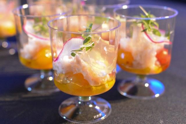 Kali Dining pistachio, dungeness crab, avocado, tomato gel, cilantro; vanilla panna cotta, strawberries, balsamic