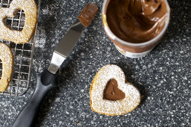 chocolate hazelnut linzer heart