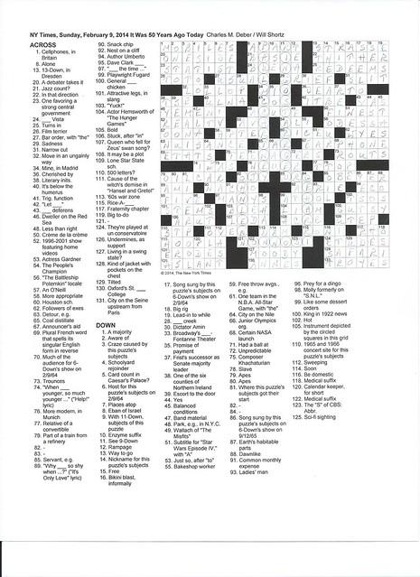 NYT Sunday Puzzle - February 9, 2014