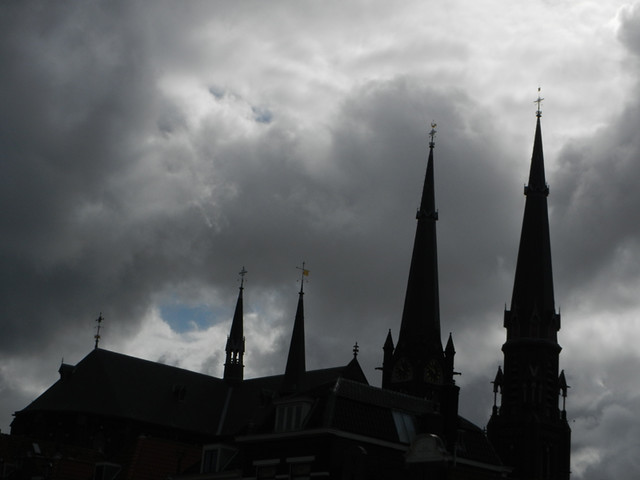 Church against a stormy sky in Delft