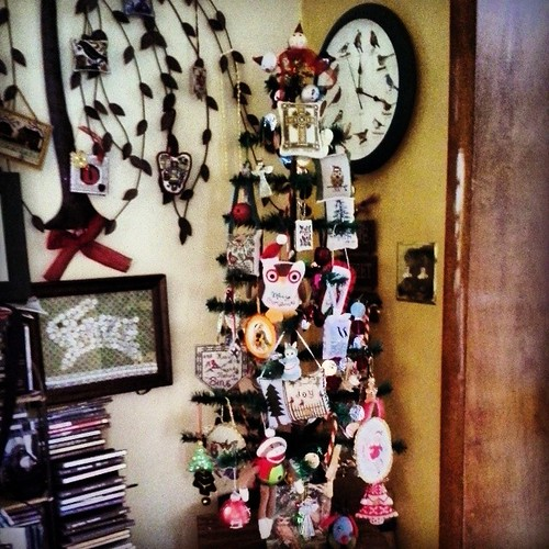 Just put up the feather tree which has mostly hand stitched items. I have two more ornaments to add. Think I need a second tree soon!